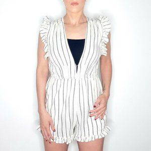 Billabong striped romper with ruffle cap sleeve